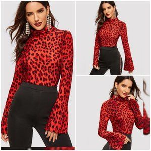 Tops - NEW Red Leopard Print Bell Sleeve Turtleneck